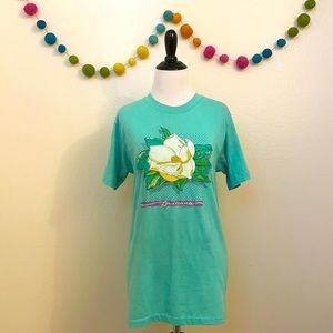 🆕Vintage 1986 Louisiana Magnolia Print T-Shirt